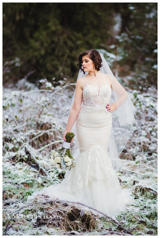 Lace Trumpet Spaghetti Strap Wedding Dress (#Sasha)