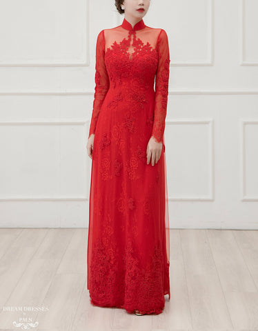 Red Ao Dai | Vietnamese Lace Bridal Dress (#LISE)