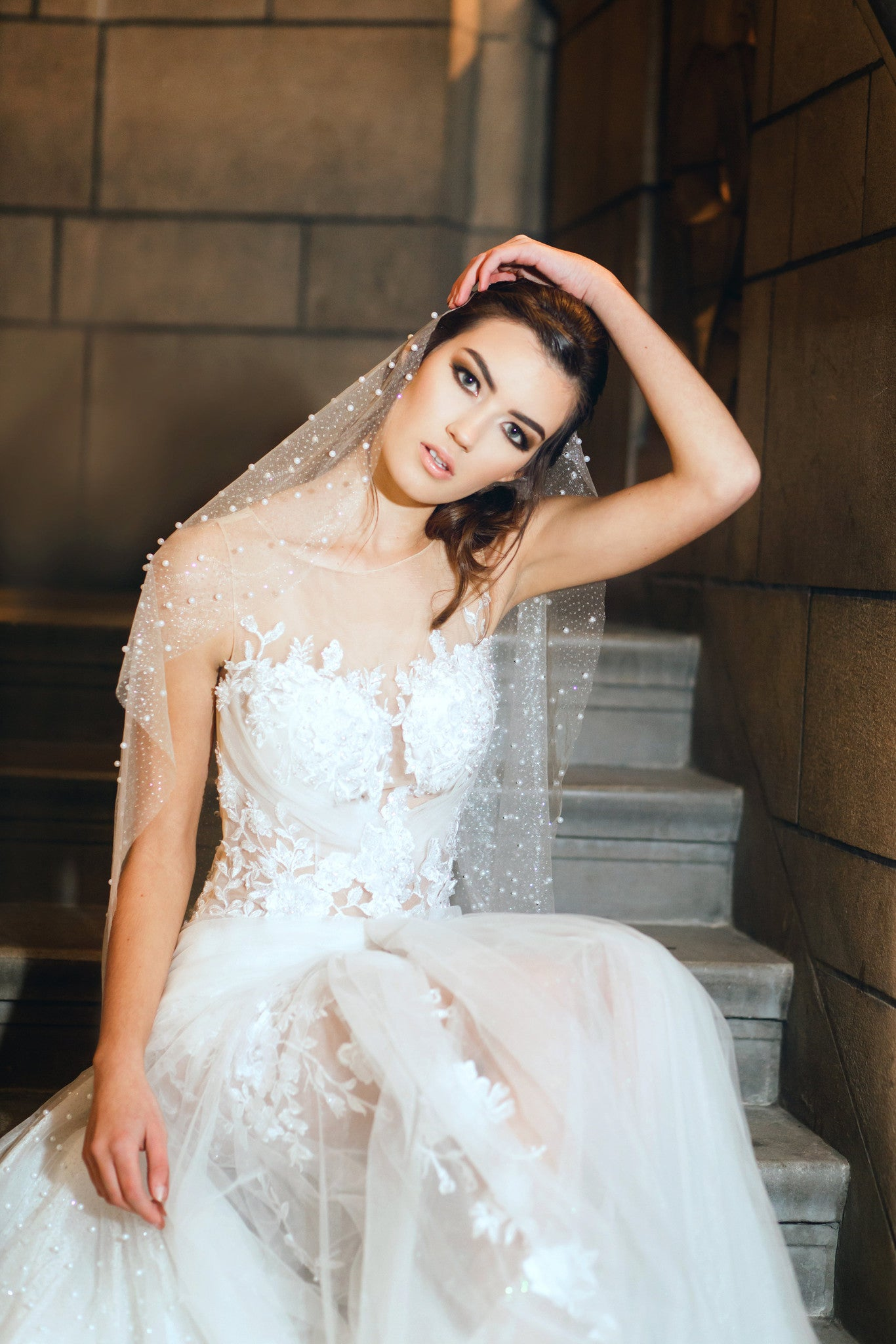 Lace illusion Bodice Wedding Dress (#Mabelle)
