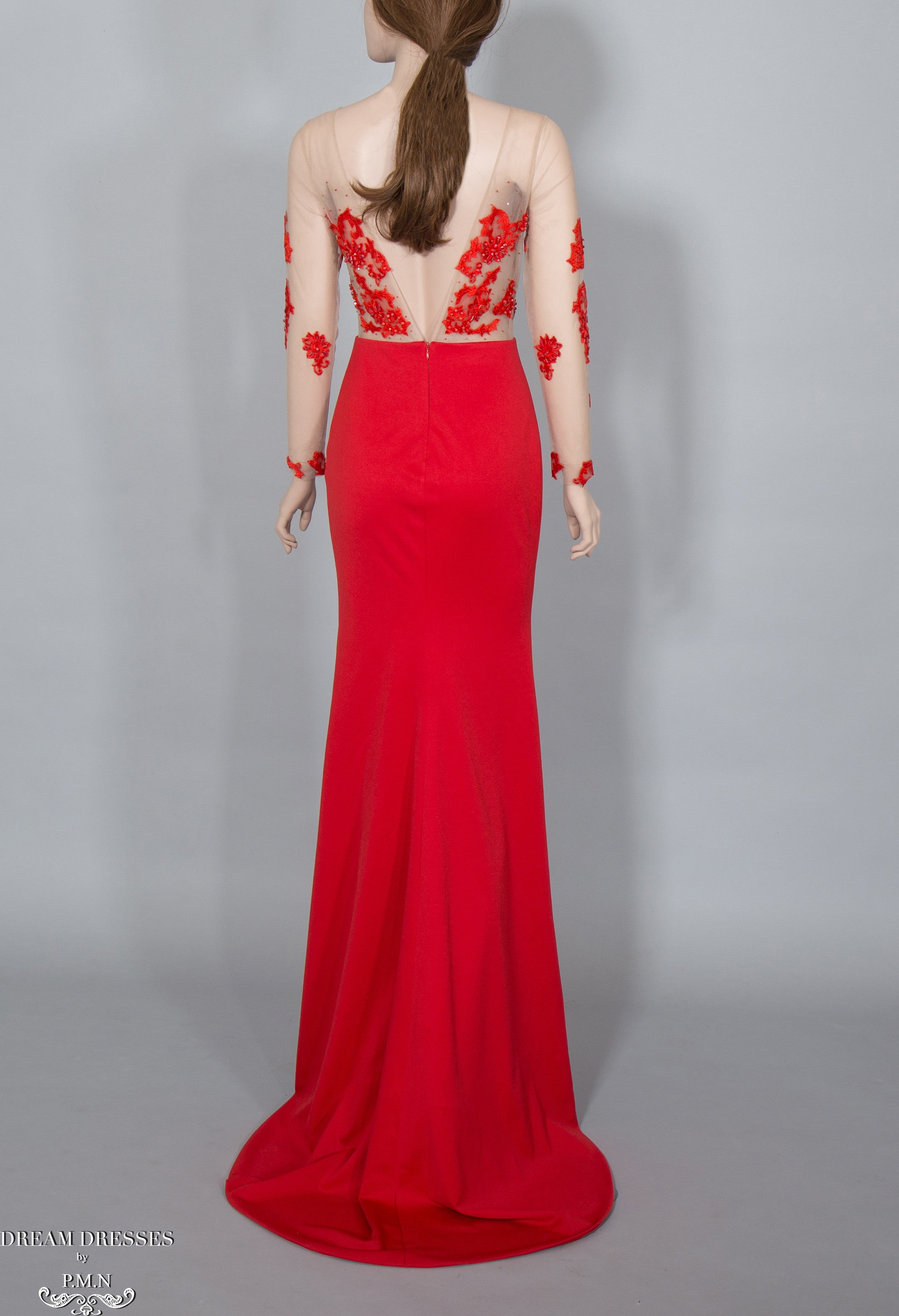 illusion Red Lace Gown (#Elaine)