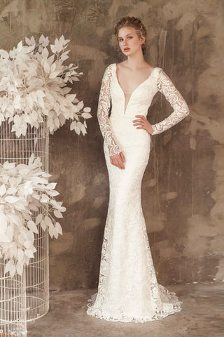 Long Sleeve Lace Wedding Dress (#Elise)