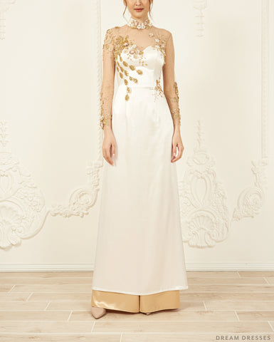 Embellished Bridal Ao Dai | Custom Made Vietnamese Bridal Dress (#ELVERA)