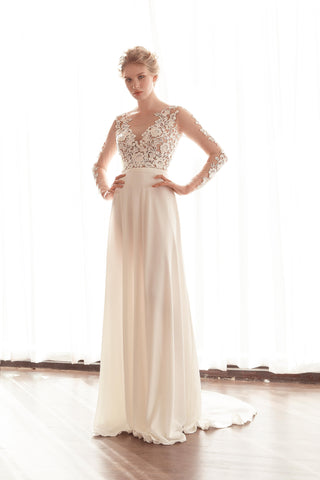 Illusion Long Sleeve Chiffon Wedding Gown (#Faline)