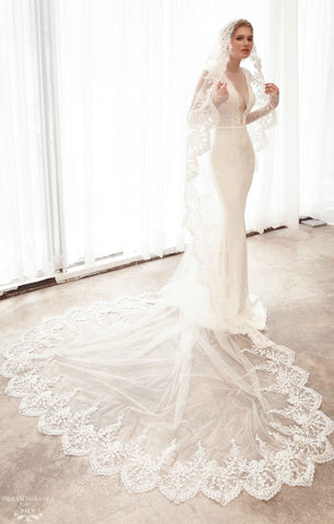Cathedral Bridal Veil with Lace Trim Edge (#Gila)