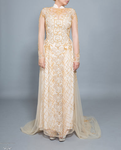 Gold Bridal Ao Dai | Vietnamese Bridal Dress with Embellishment (#HELGA)