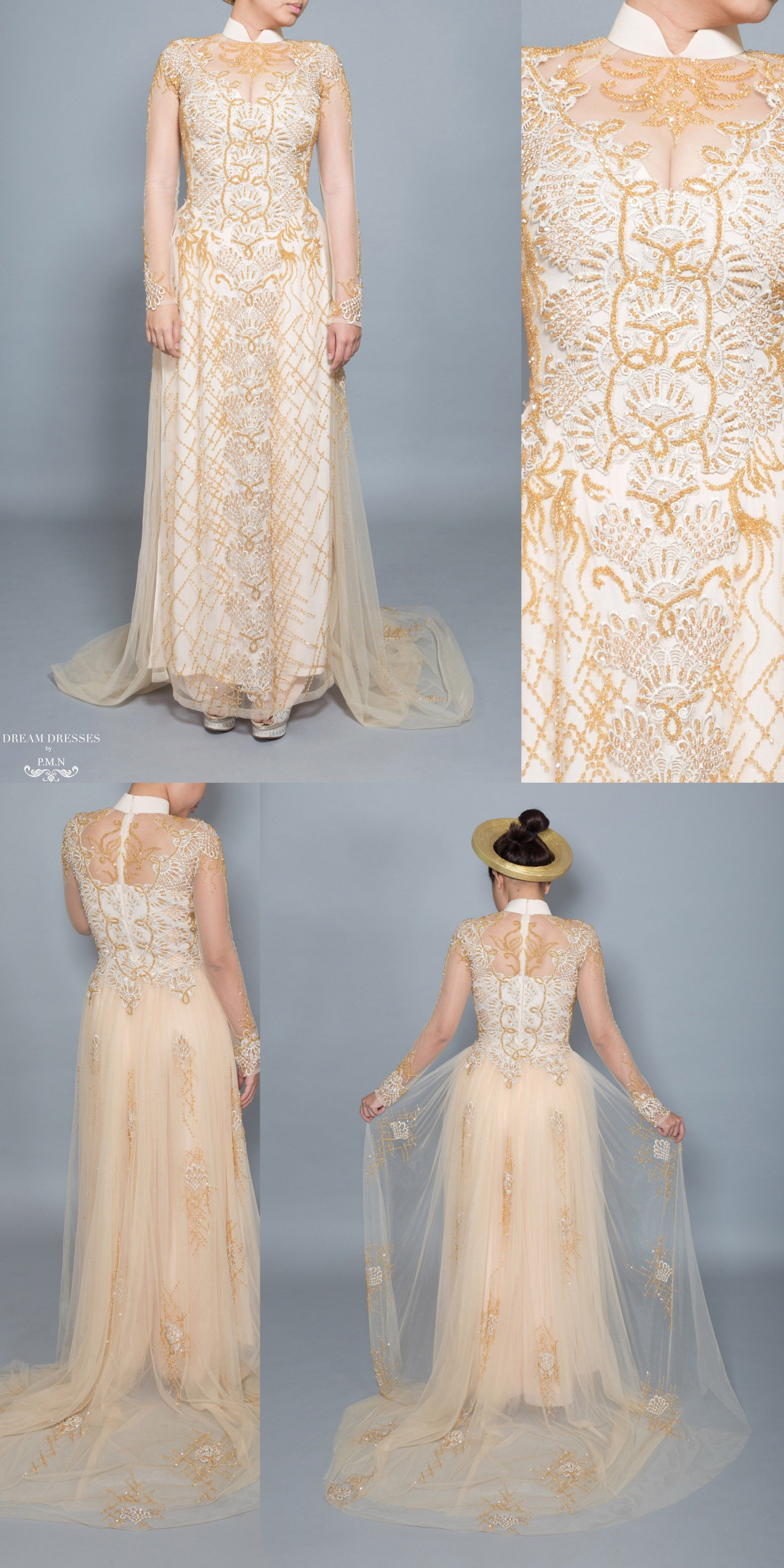 Gold Ao Dai Vietnamese Bridal Dress With Embellishment