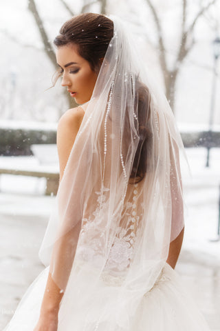 Embellished Fingertip Veil (#Hayley)