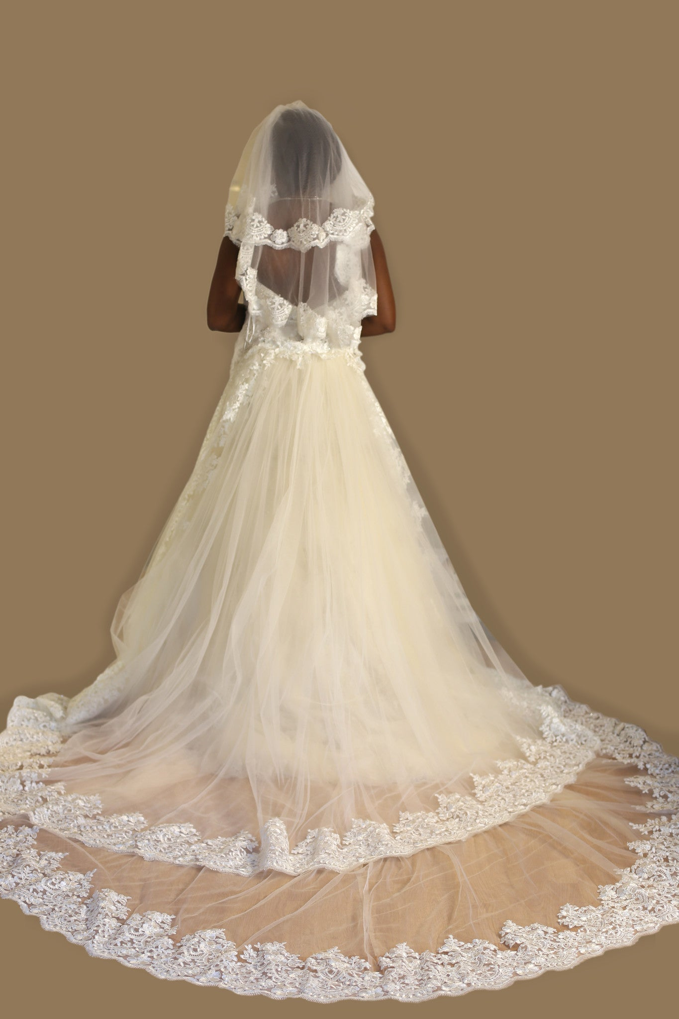 Bridal Detachable Cathedral Train With Two Layers of Lace Appliqué (Style #ANGIE PB153) - Dream Dresses by P.M.N  - 5