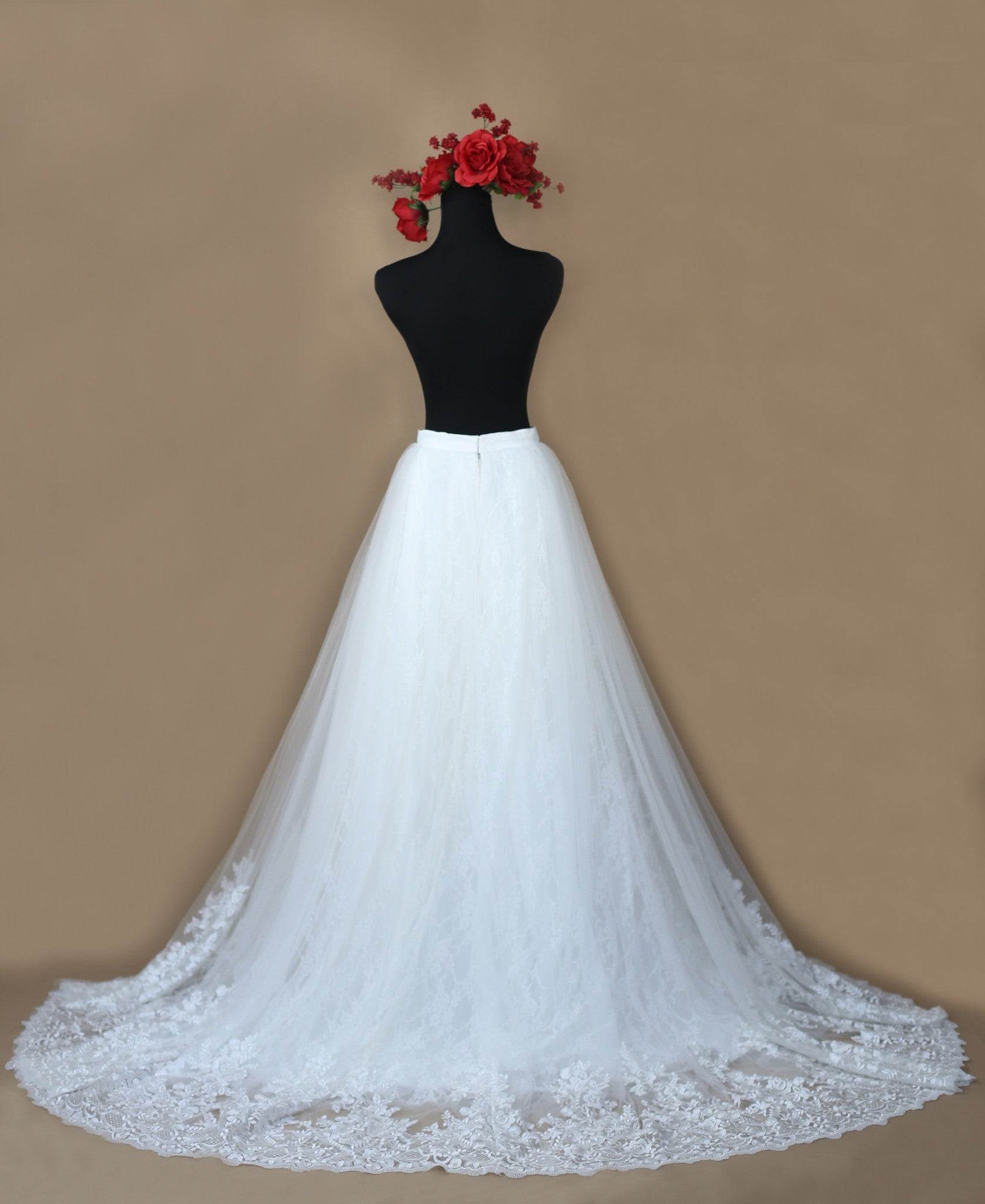 SAMPLE SALE/ Detachable Ball Gown Skirt With Chapel Train (Style #PB162)