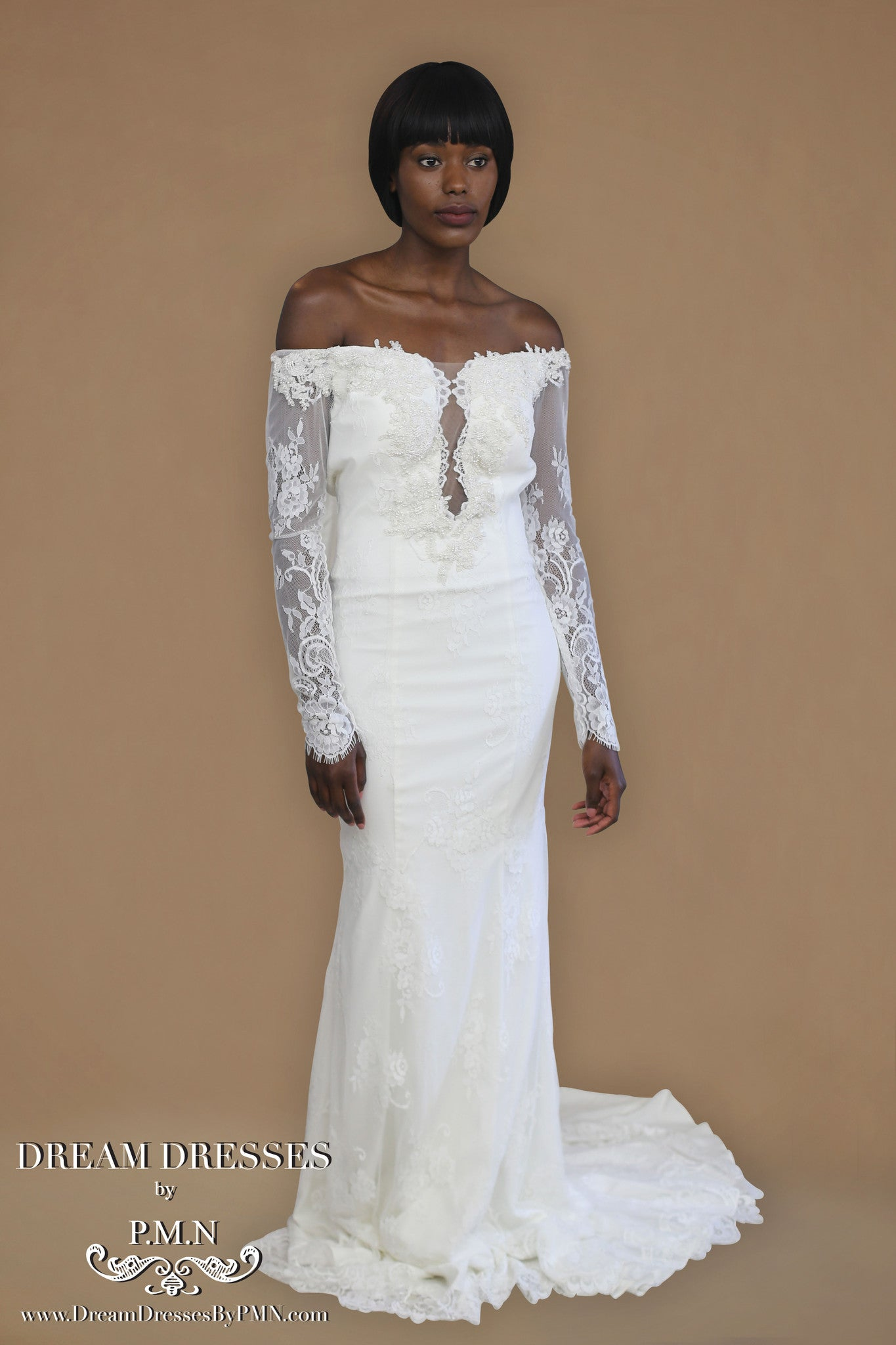 Long Sleeve All Over Lace Wedding Dress (Style #PB1934) - Dream Dresses by P.M.N  - 6
