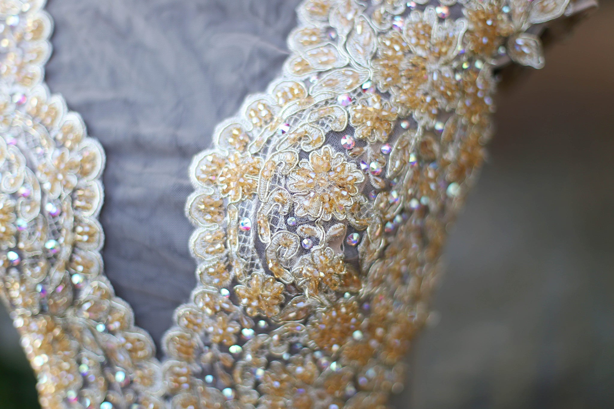 Beaded Lace Gold Dress With Swarovski Crystals (#Jacqueline) - Dream Dresses by P.M.N  - 5
