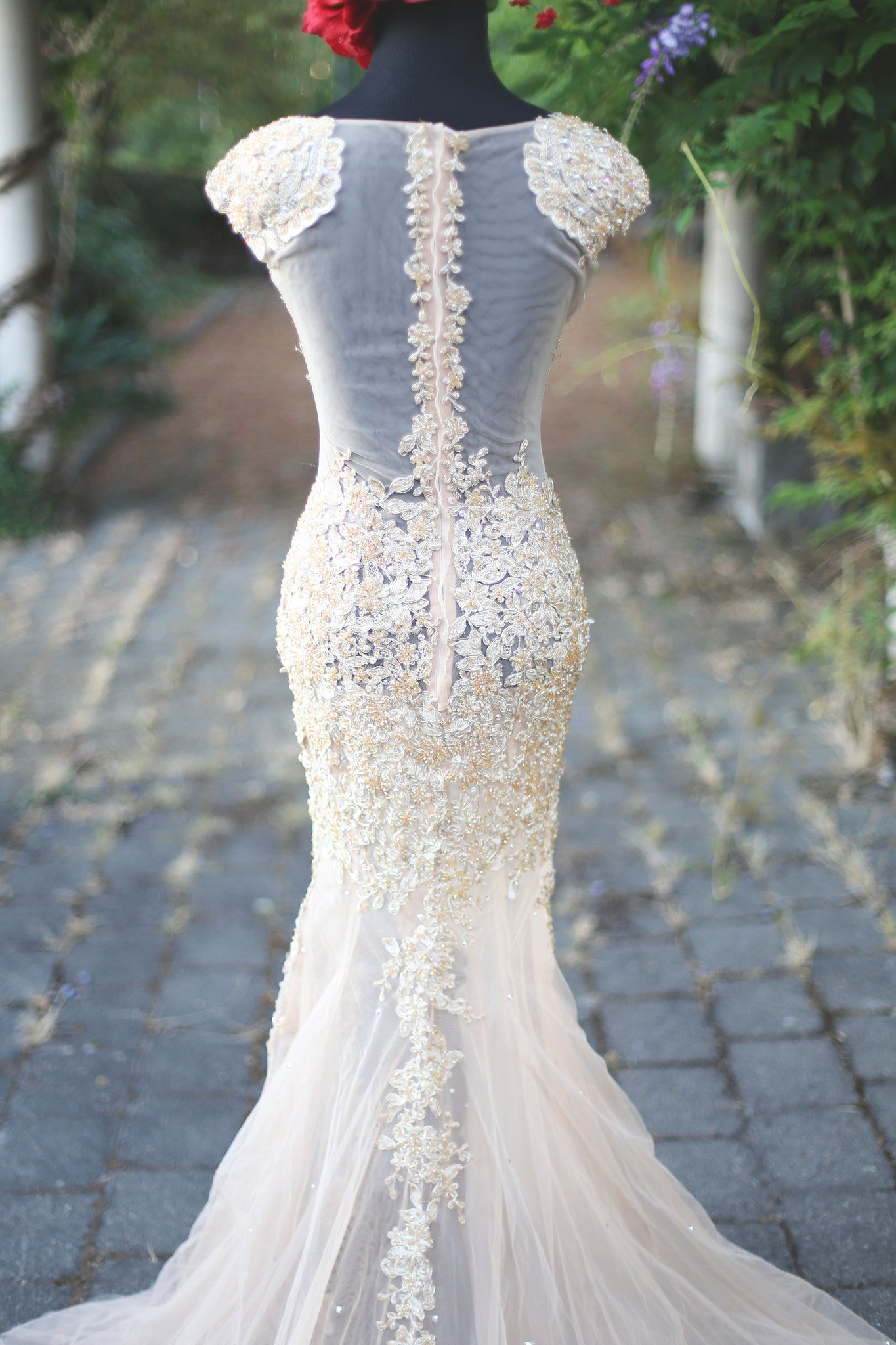 Beaded Lace Gold Dress With Swarovski Crystals (#Jacqueline) - Dream Dresses by P.M.N  - 7
