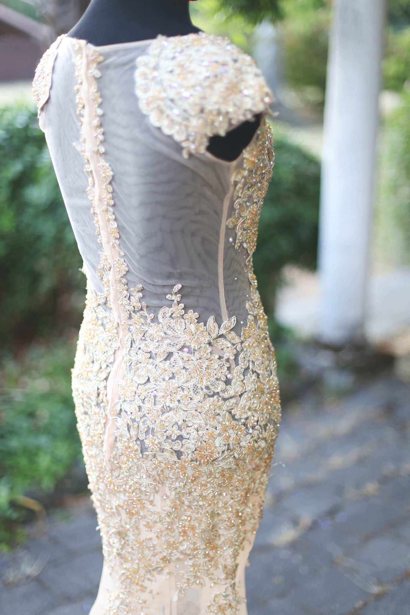 Beaded Lace Gold Dress With Swarovski Crystals (#Jacqueline) - Dream Dresses by P.M.N  - 8