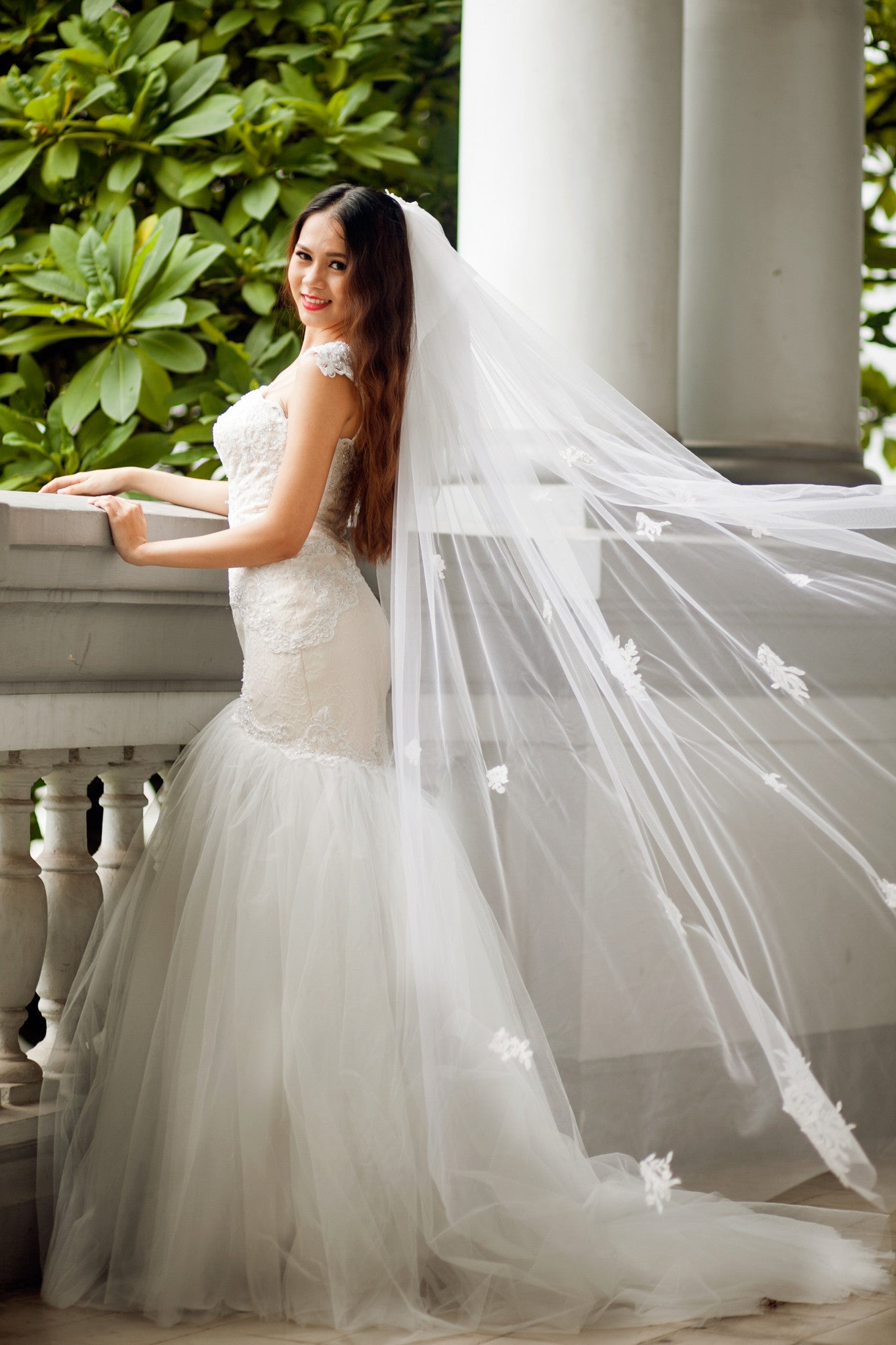 SAMPLE SALE / Lace Trumpet Wedding Gown with Beaded Straps (#PB067) - Dream Dresses by P.M.N  - 7