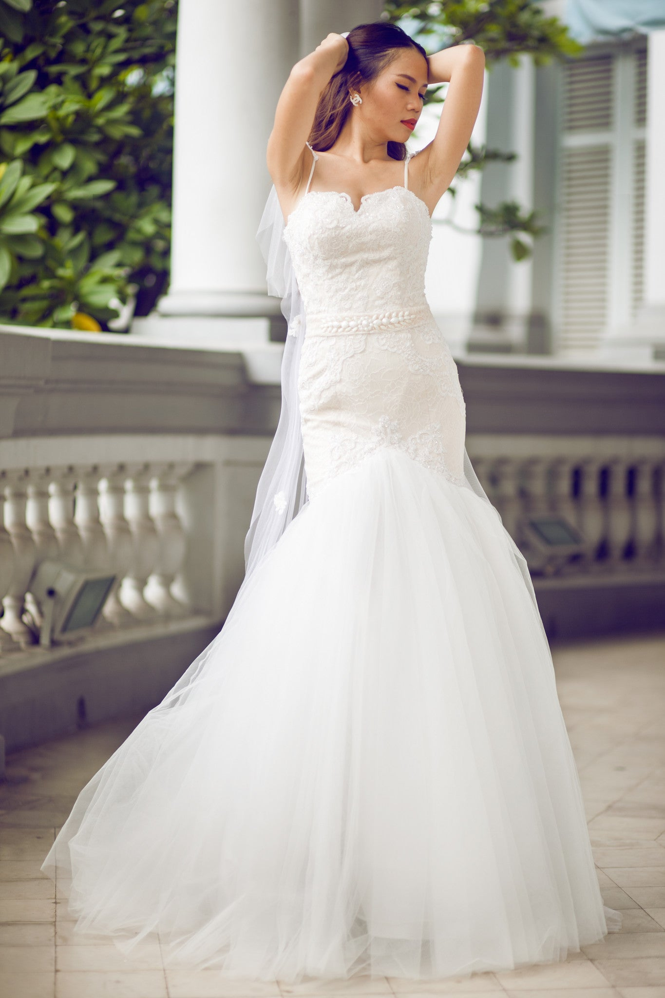 SAMPLE SALE / Lace Trumpet Wedding Gown with Beaded Straps (#PB067 ...