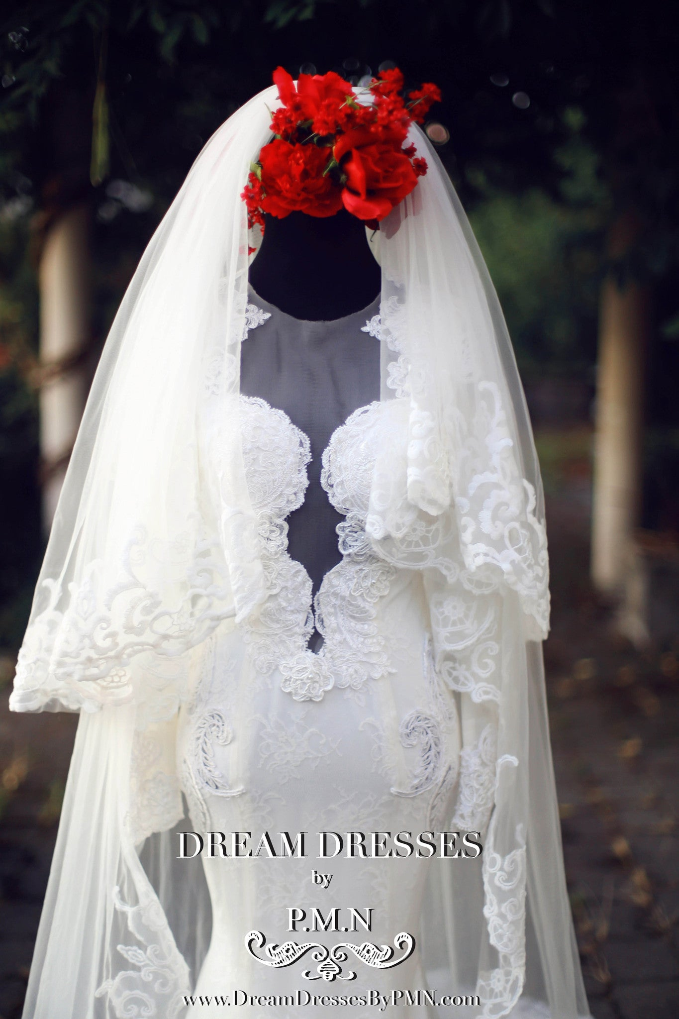 Two-Layer Lace Cathedral Wedding Veil  (#PB201) - Dream Dresses by P.M.N  - 5