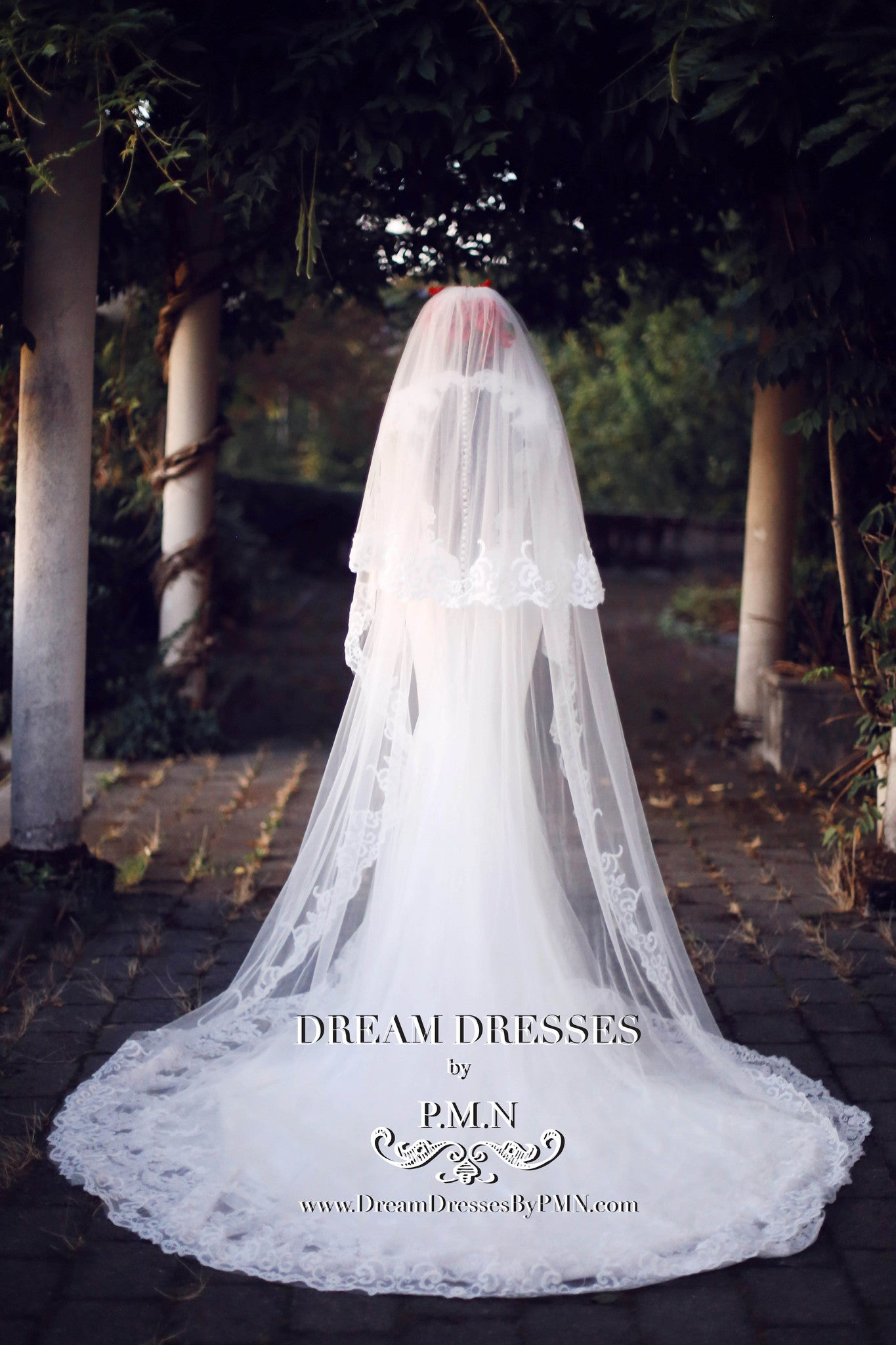 Two-Layer Lace Cathedral Wedding Veil  (#PB201) - Dream Dresses by P.M.N  - 4