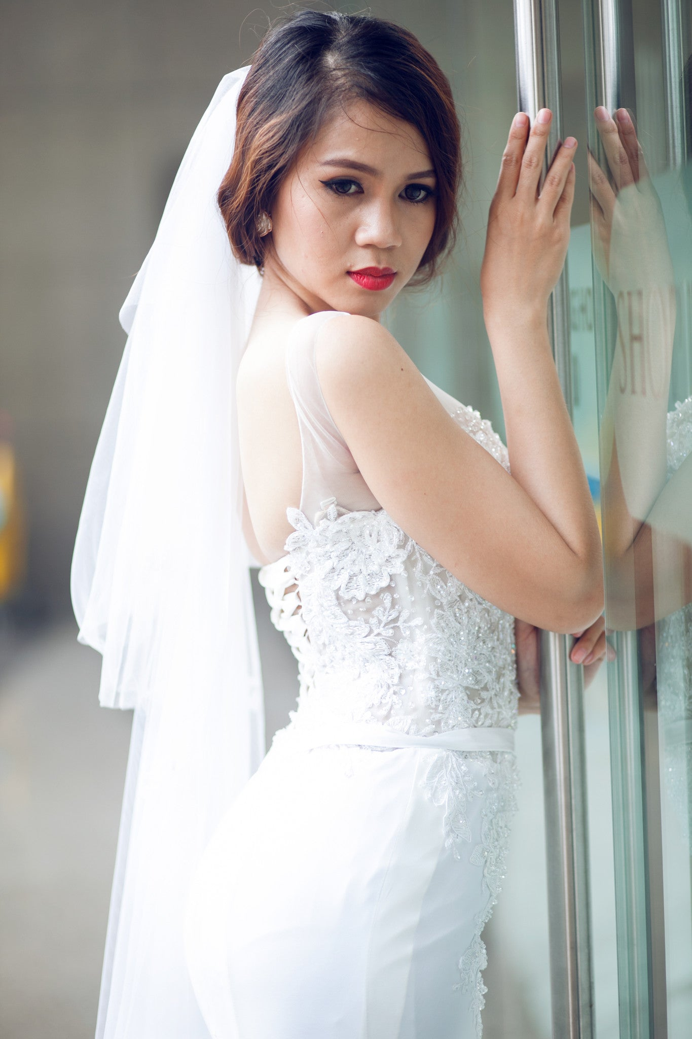 SAMPLE SALE /Two Tier Floor Length Bridal Veil with Lace Appliques and sequins (#PB107)