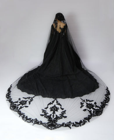 Black Cathedral Wedding Veil (#Galena)