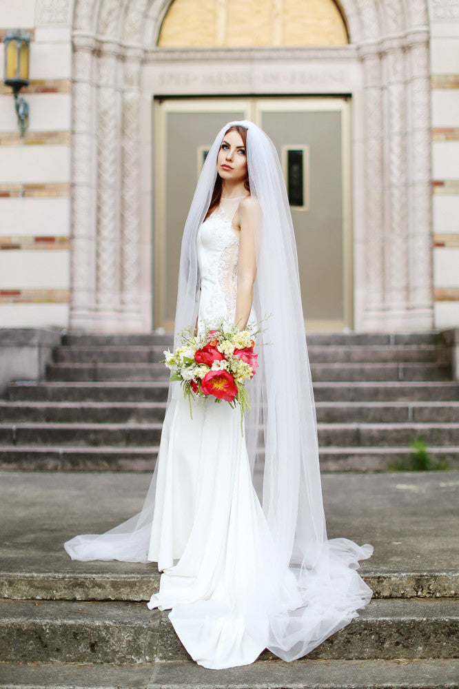 Silk Wedding Dress With Sheer Back (#Lily)