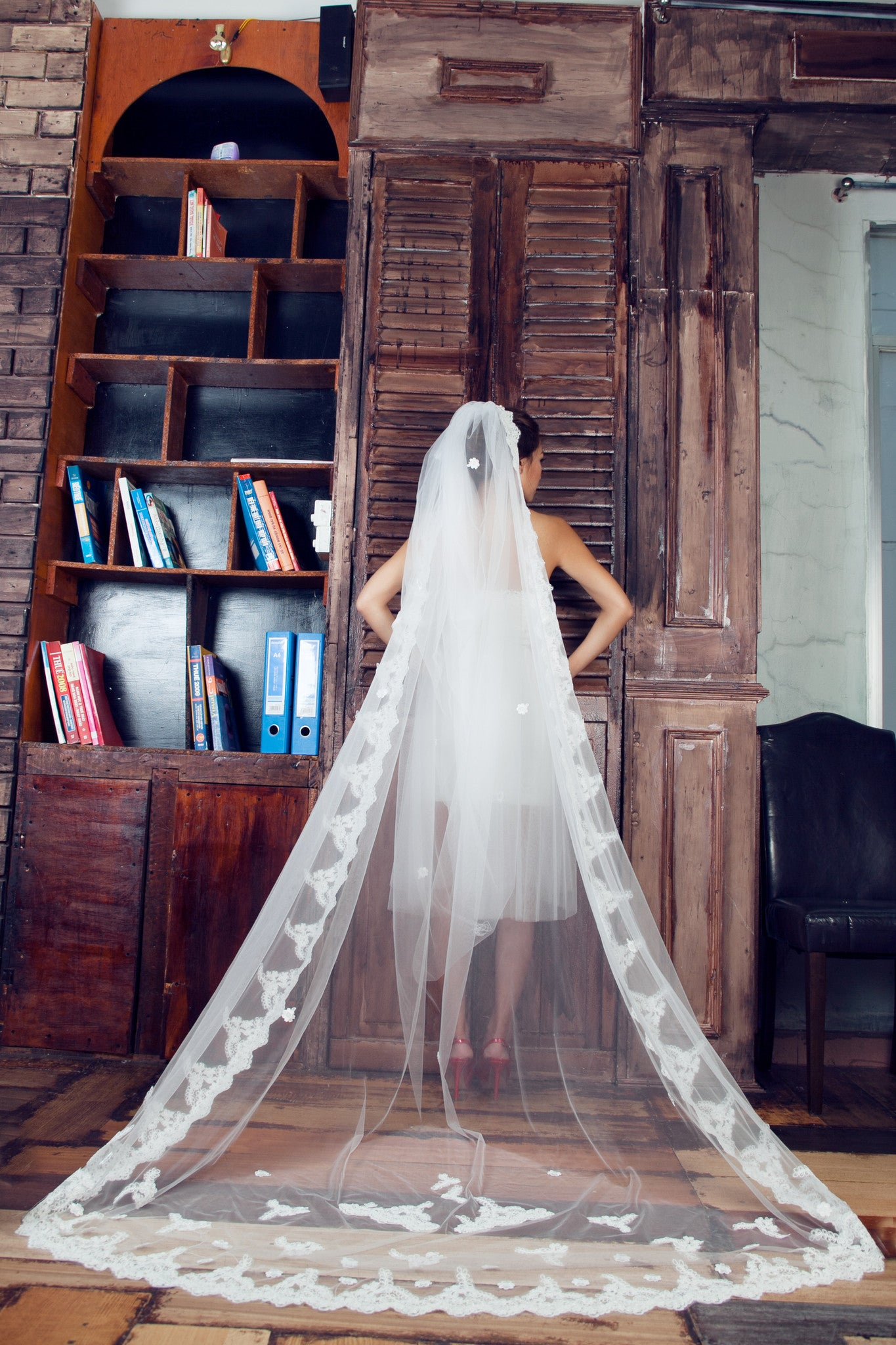 One-tier Cathedral Length Veil With Lace Appliqué Edge (#PB100) - Dream Dresses by P.M.N  - 2
