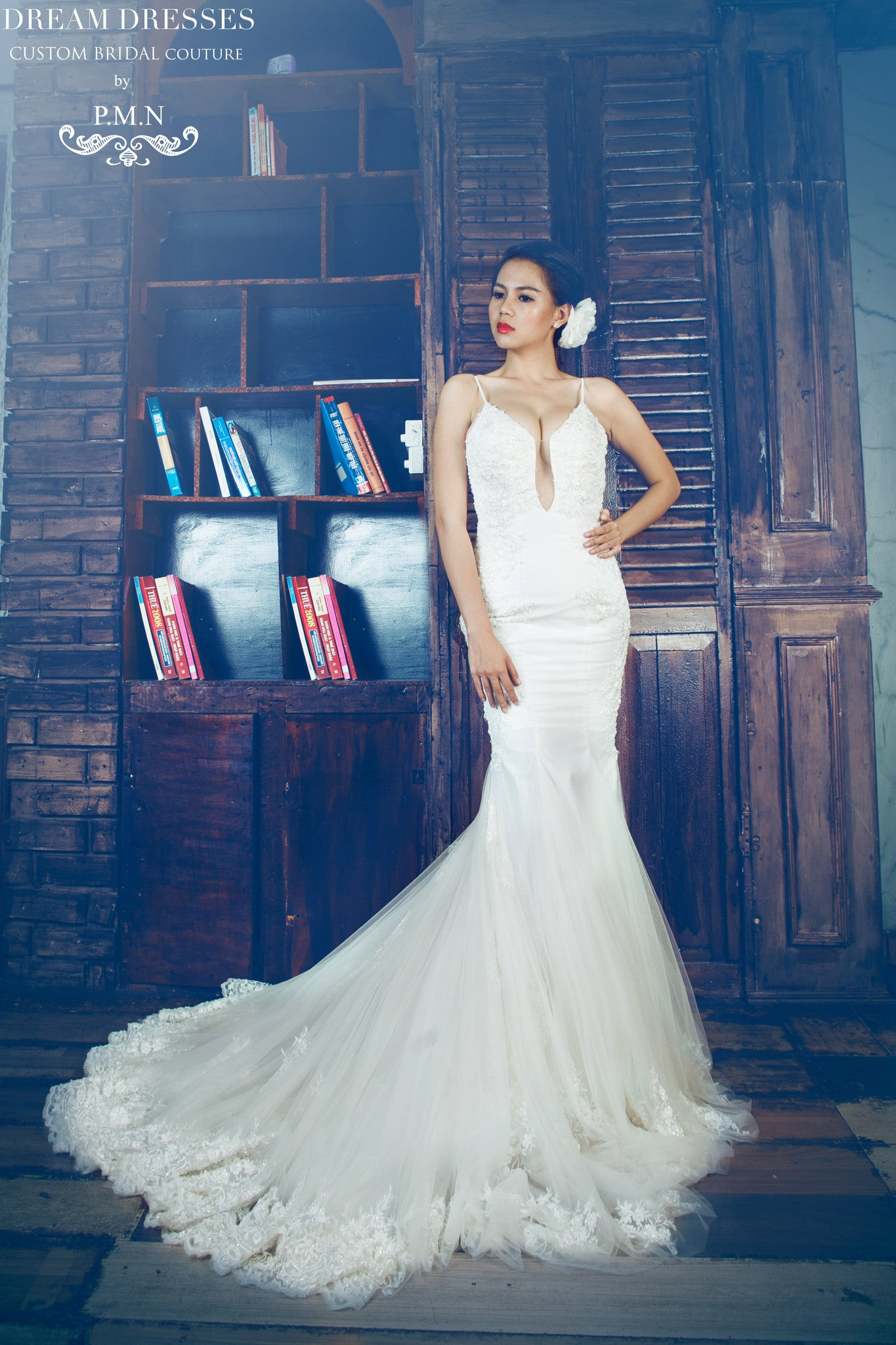Spaghetti Strap Mermaid Wedding Dress With Sexy Back (Style # Katherine PB088) - Dream Dresses by P.M.N  - 1