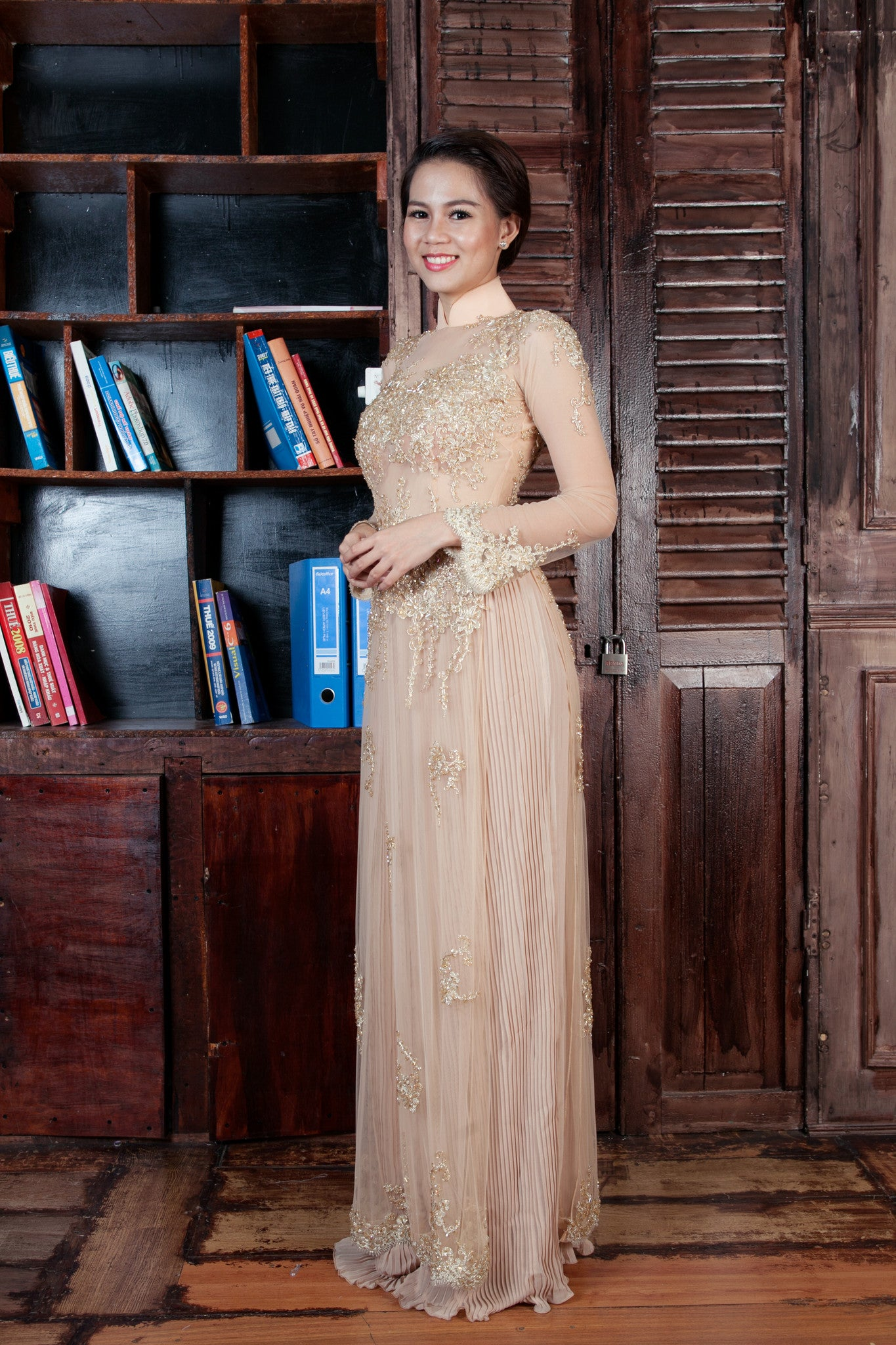 Champagne Ao Dai-Custom Made Vietnamese Bridal Dress (#PB103) - Dream Dresses by P.M.N  - 3