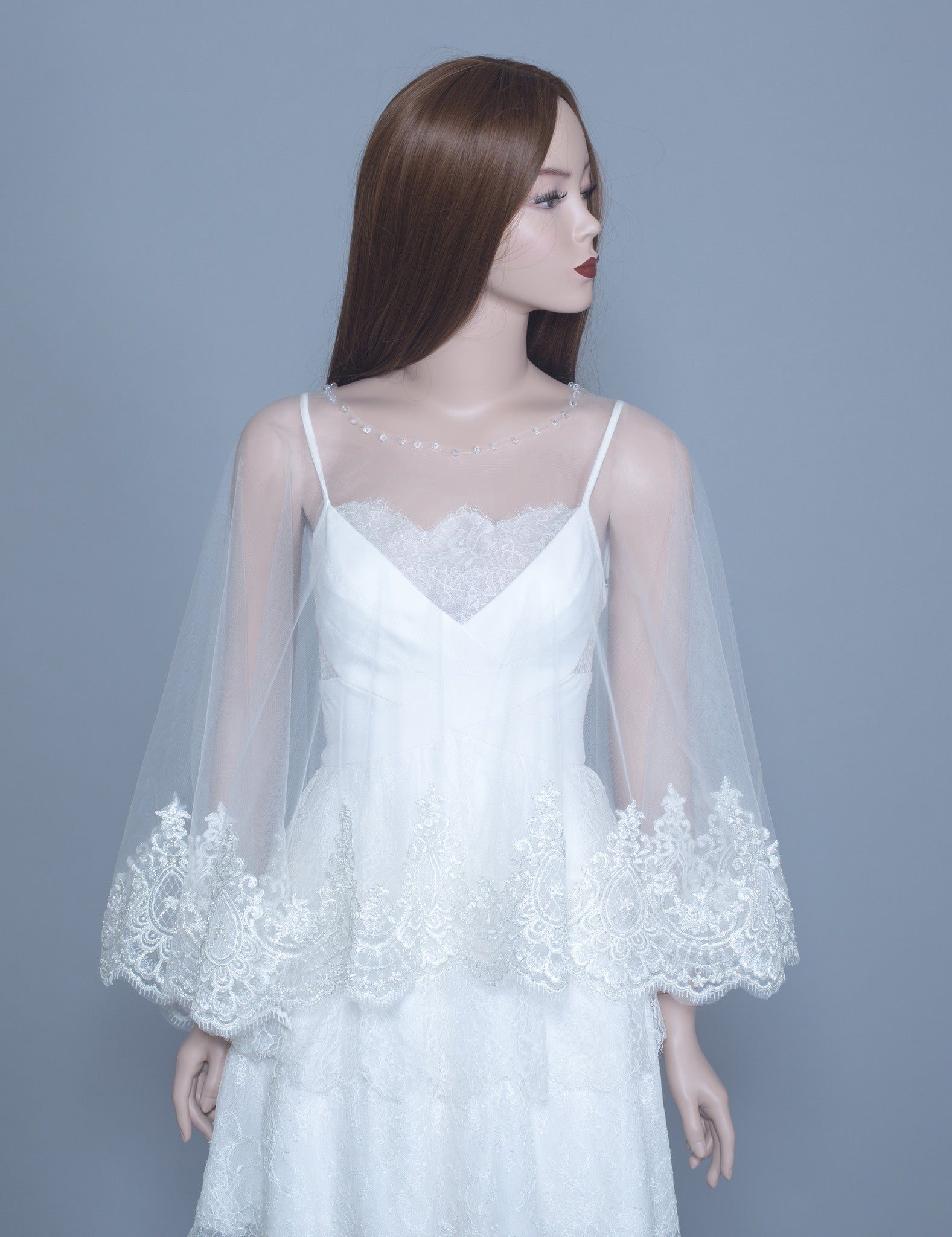 Lace Bridal Cape (#Leora) - Dream Dresses by P.M.N  - 1