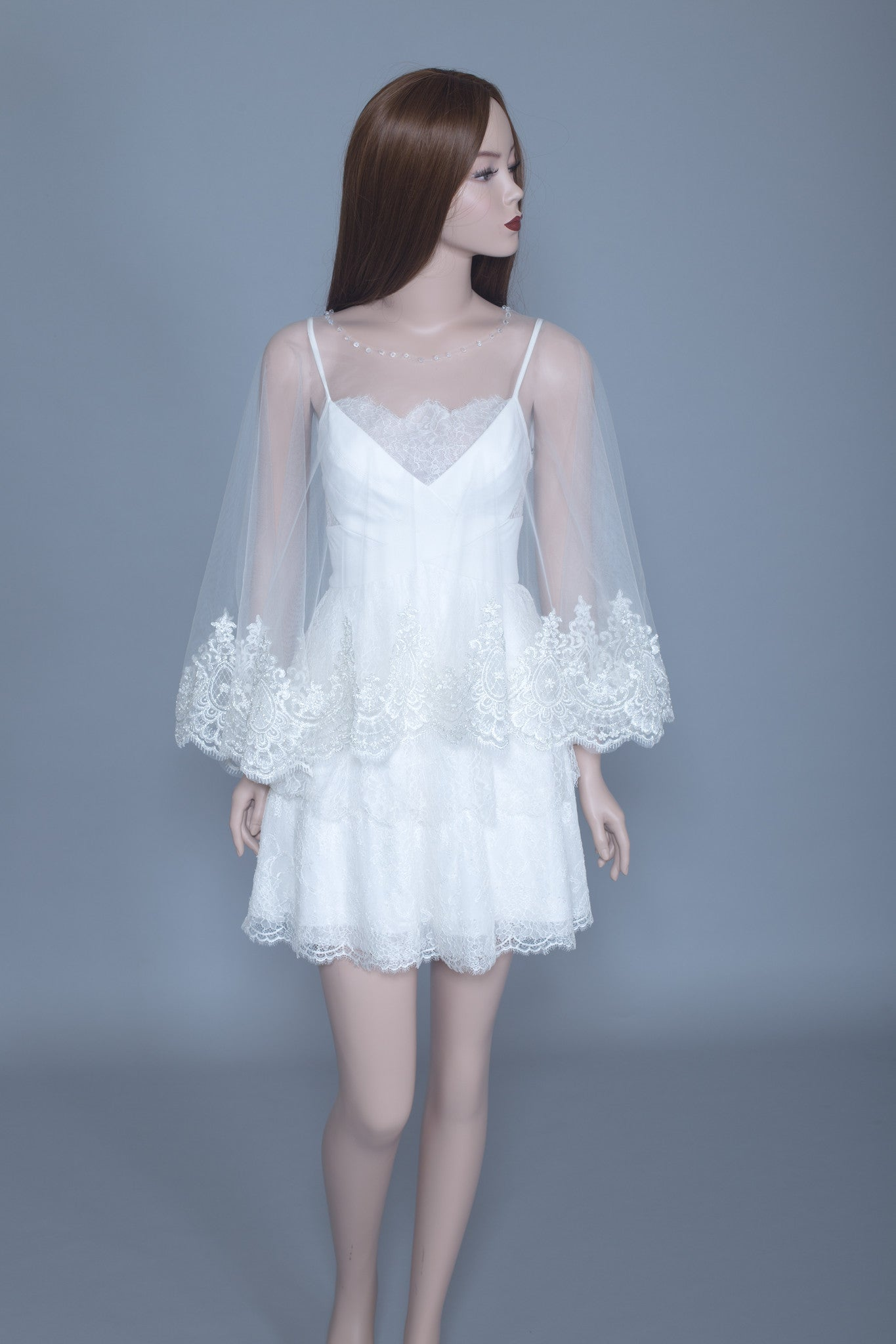 Lace Bridal Cape (#Leora) - Dream Dresses by P.M.N  - 2