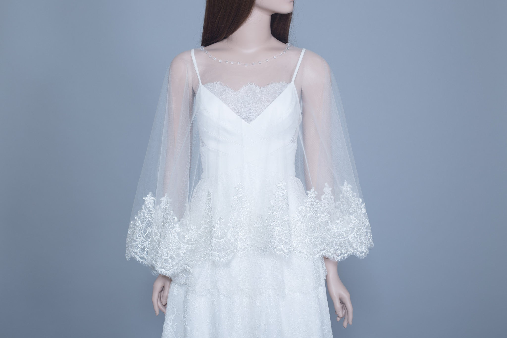 Lace Bridal Cape (#Leora) - Dream Dresses by P.M.N  - 4
