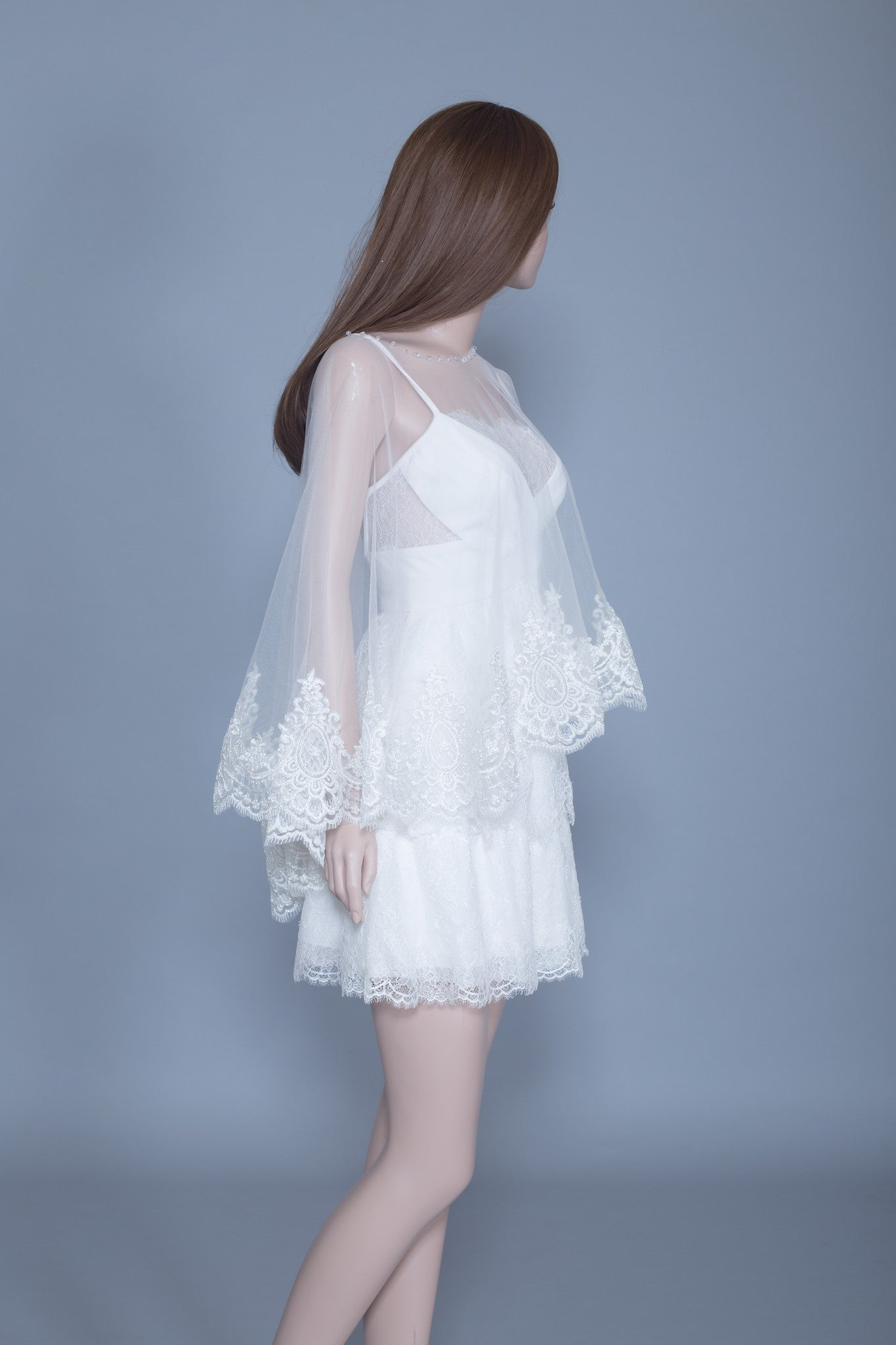 Lace Bridal Cape (#Leora) - Dream Dresses by P.M.N  - 5