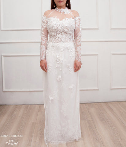 White Ao Dai | Modern Vietnamese Lace Bridal Dress (#CHRISTINA)