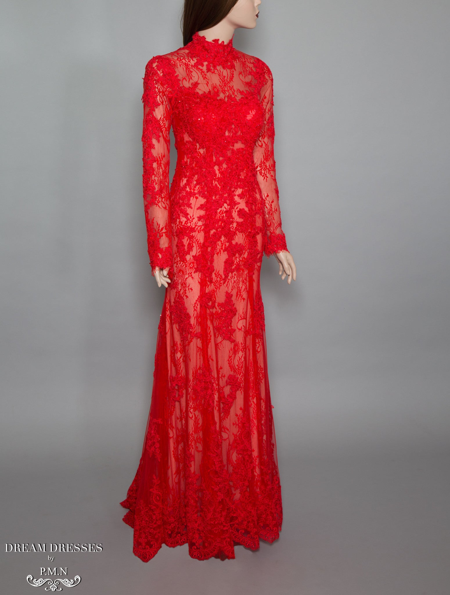 Red Long Sleeve Lace Gown (#Bella) | Dream Dresses by P.M.N.