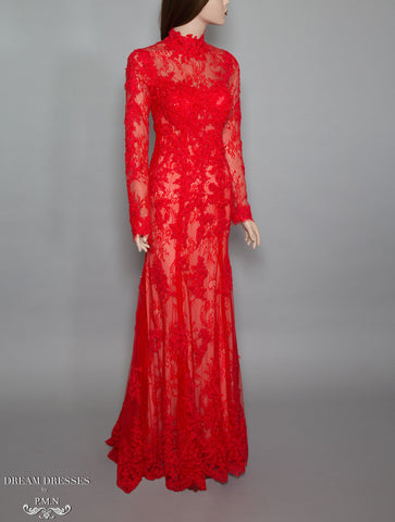 Red Long Sleeve Lace Gown (#Bella) - Dream Dresses by P.M.N  - 1