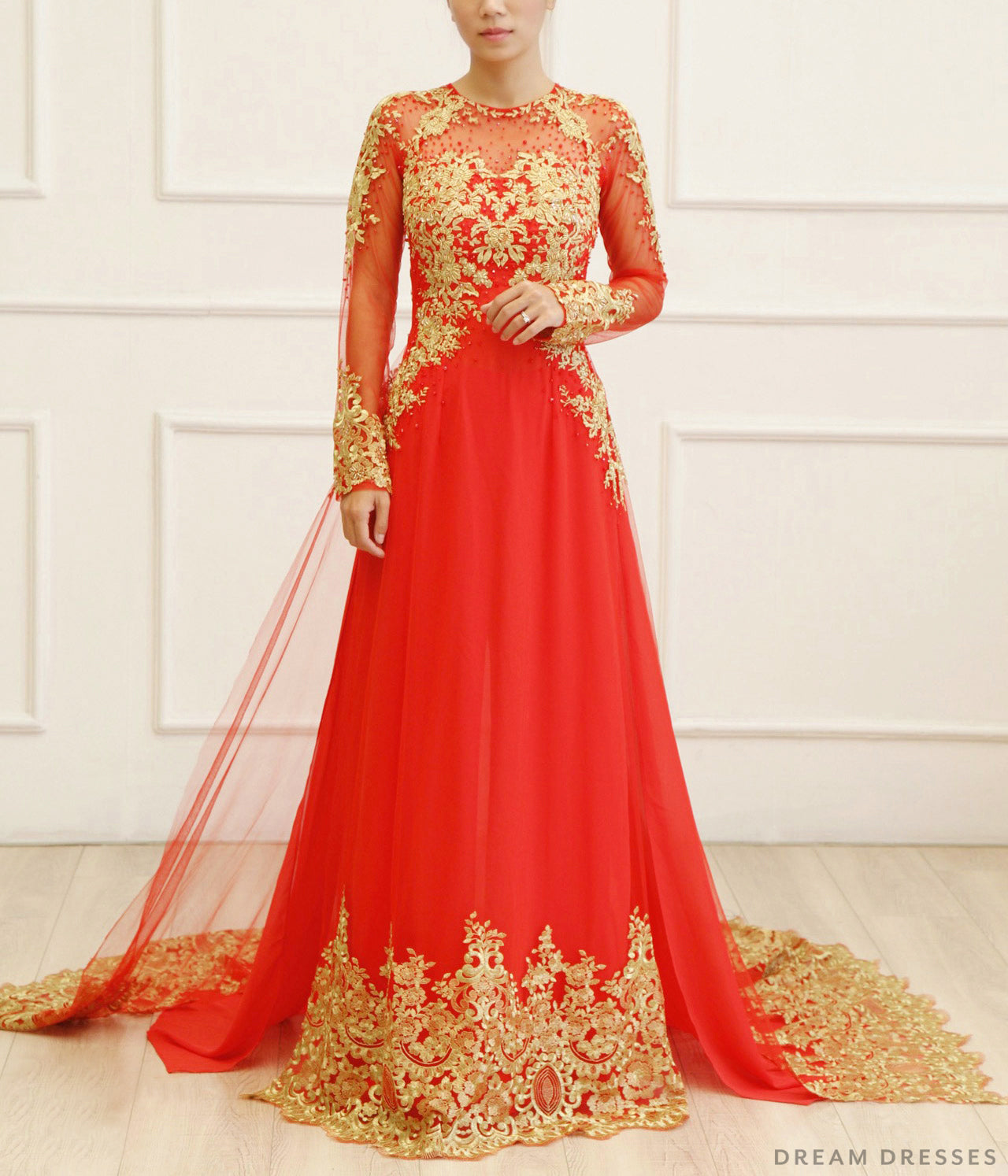 Red Bridal Ao Dai with Gold Lace | Vietnamese Bridal Dress (#KAIA)
