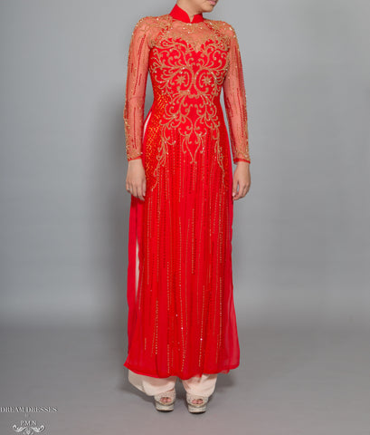 Red Ao Dai with Gold Embellishment | Vietnamese Bridal Dress (#DALYA)