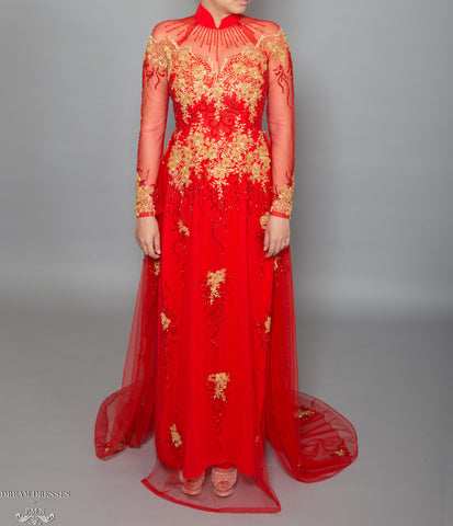 Red Bridal Ao Dai with Gold Lace | Vietnamese Bridal Dress with Embellishment (#KALEY)