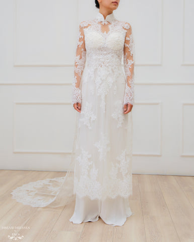 White Ao Dai | Modern Vietnamese Lace Bridal Dress (#JENINE)