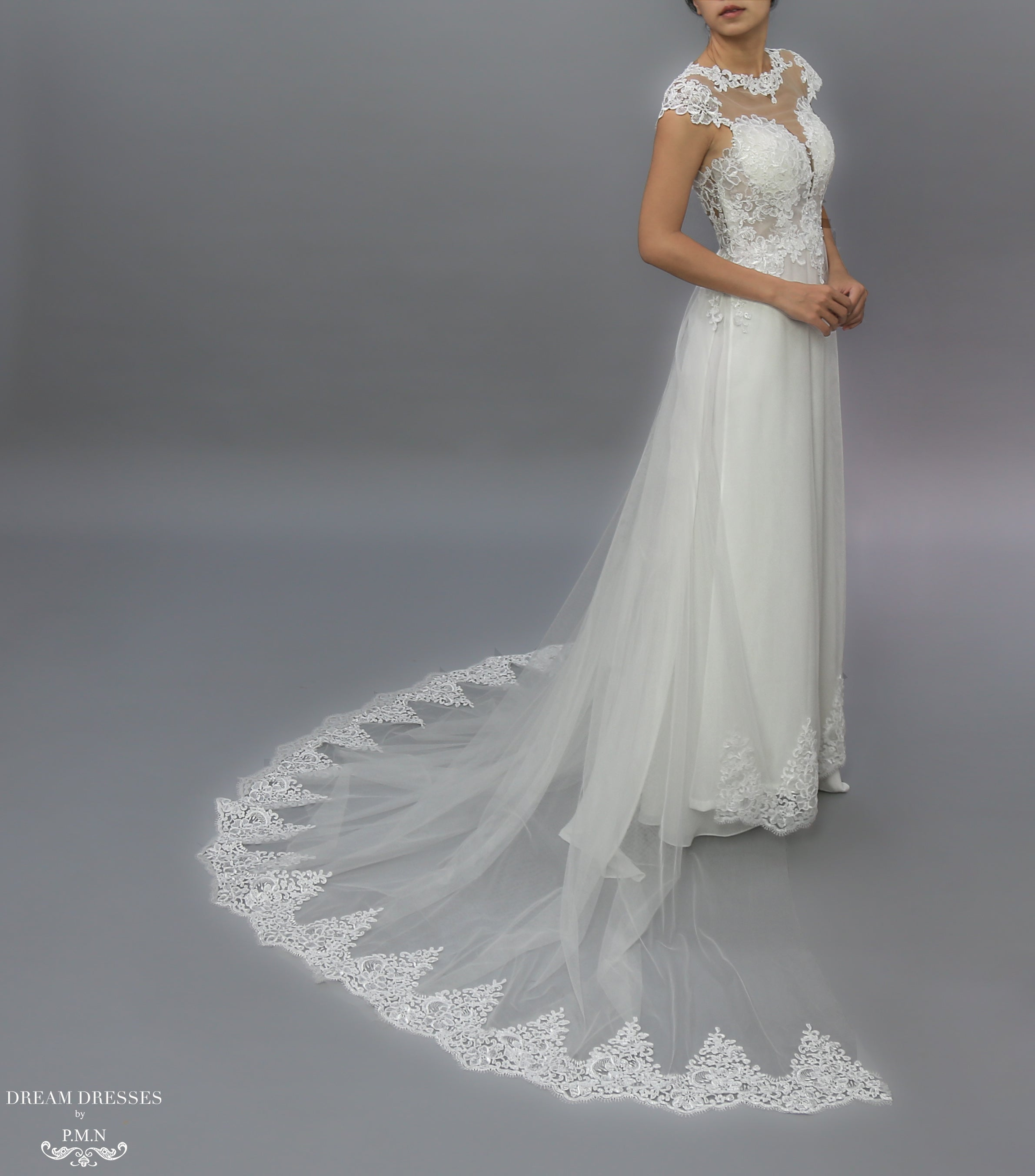 White Bridal Ao Dai | Modern Vietnamese Lace Bridal Dress (#JENY)