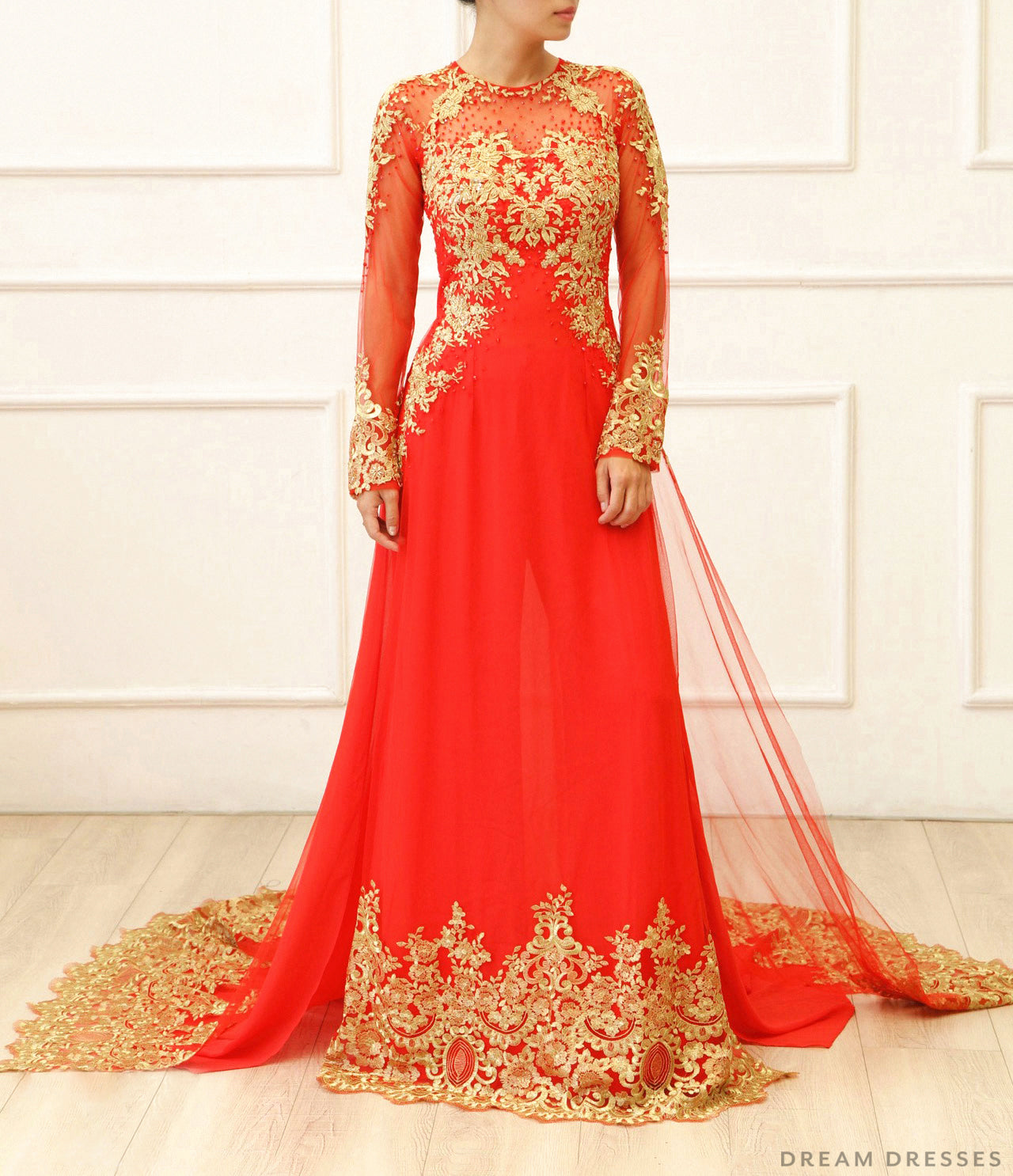 Red and Gold Ao Dai | Vietnamese Bridal Dress (#KAIA)