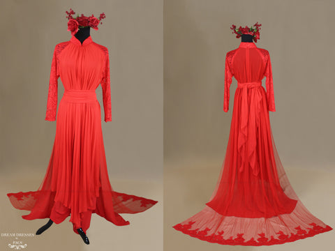 Red Bridal Ao Dai | Chiffon Vietnamese Traditional Bridal Dress (#KIMMBERLY)