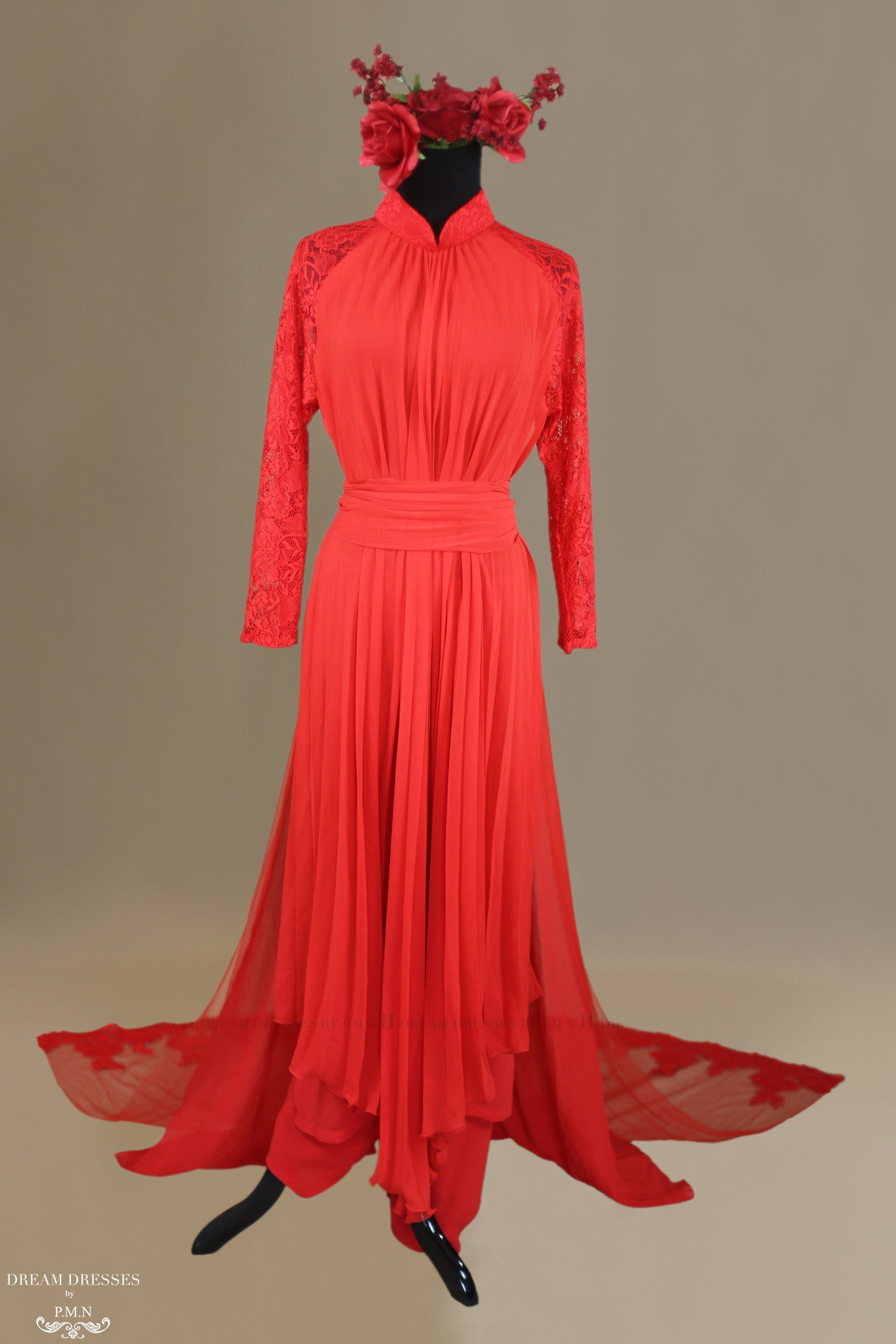 Red Ao Dai | Chiffon Vietnamese Traditional Bridal Dress | Dream ...