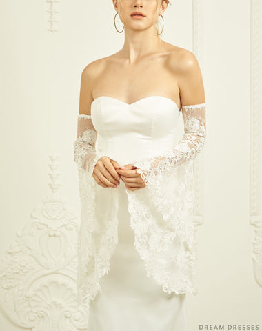Detachable Bridal Bell Sleeves (#KAYLEE)