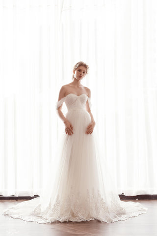 Off The Shoulder Tulle A-Line Gown (#Kiara)