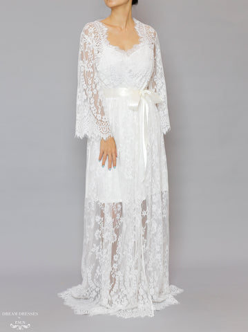 Long Bridal Lace Robe (#Laina)