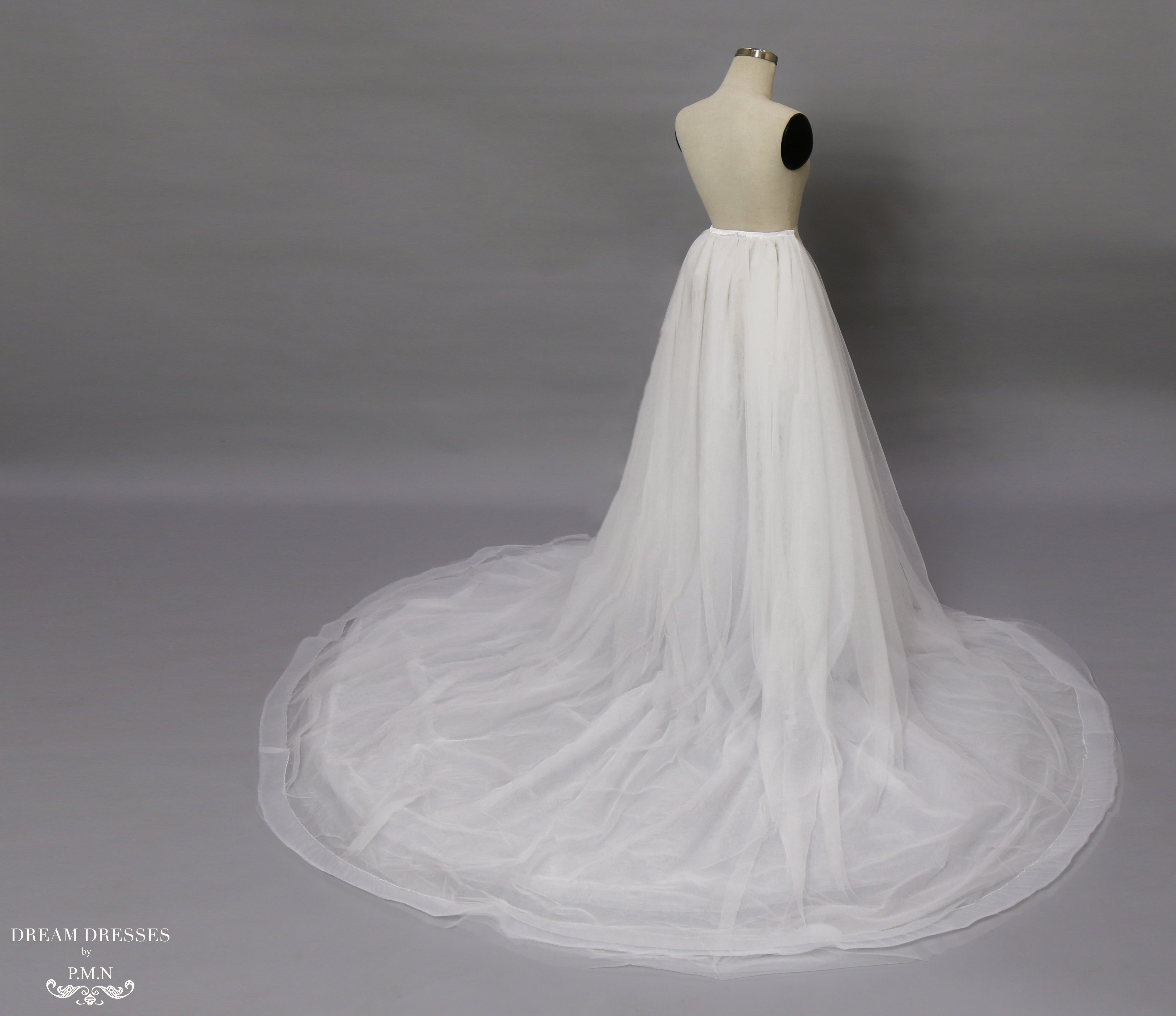 Detachable Bridal Tulle Skirt with Horsehair braid (#Lamia)