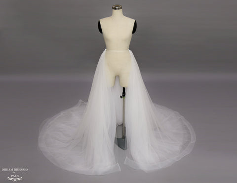Detachable Bridal Tulle Overskirt with Horsehair Trim (#Lamia)