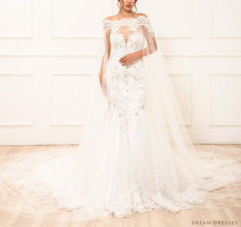 Off Shoulder Lace Bridal Cape (#LAYLA)