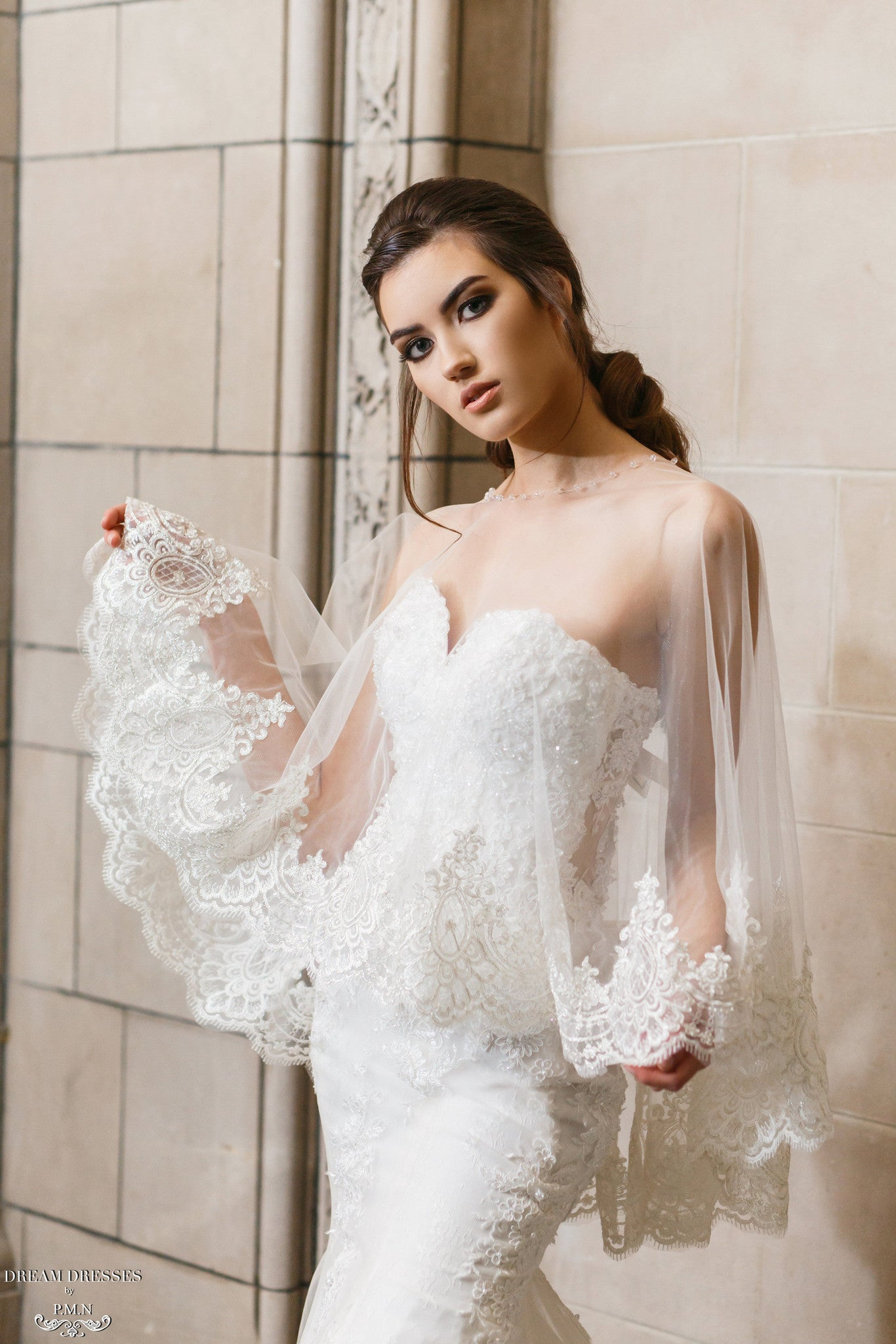 Lace Bridal Cape (#Léonie) - Dream Dresses by P.M.N  - 2