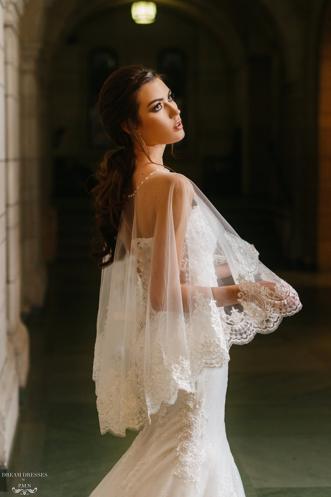 Lace Bridal Cape (#Léonie) - Dream Dresses by P.M.N  - 3